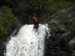 Sliding down the second waterfall